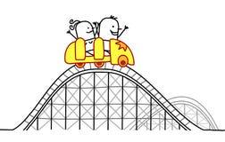 Paar op achtbaan Stock Foto's