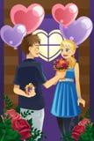 Paar op de dag van de Valentijnskaart Stock Foto
