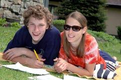 Paar op de deken Royalty-vrije Stock Foto