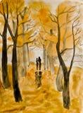 Paar op de herfststeeg, het schilderen vector illustratie