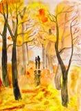 Paar op de herfststeeg, het schilderen royalty-vrije illustratie