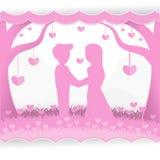 Paar op een bos vectorontwerp als achtergrond voor Valentine Day Royalty-vrije Stock Foto