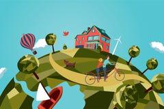 Paar op fiets achter elkaar royalty-vrije illustratie