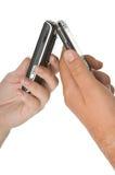 Paar op hun telefoon Stock Foto