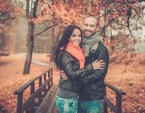 Paar op middelbare leeftijd in openlucht op de herfstdag stock fotografie