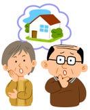 Paar op middelbare leeftijd, overleg die zich over huisvesting ongerust maken vector illustratie