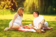 Paar op picknick Stock Fotografie