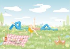 Paar op picknick Royalty-vrije Stock Foto's