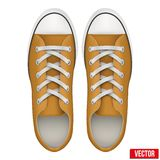 Paar oranje eenvoudige tennisschoenen Realistische vector Royalty-vrije Stock Foto