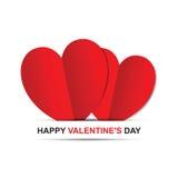 Paar rode harten, de Gelukkige kaart van de Valentijnskaartendag Royalty-vrije Stock Foto's