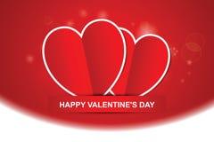 Paar rode harten, de Gelukkige kaart van de Valentijnskaartendag Stock Foto's