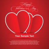 Paar rode harten, de Gelukkige kaart van de Valentijnskaartendag Royalty-vrije Stock Afbeelding