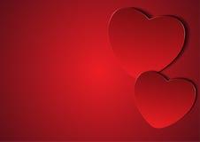 Paar rode harten met lege exemplaarruimte op linkerzijde Stock Foto's