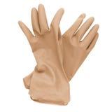 Paar rode rubber schoonmakende die handschoenen op een wit wordt geïsoleerd Royalty-vrije Stock Afbeelding