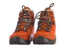 Paar rode trekkingslaarzen van voorzijde Royalty-vrije Stock Afbeelding