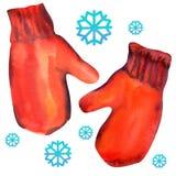 Paar rode vuisthandschoenen met sneeuwvlok Isoleer  vector illustratie