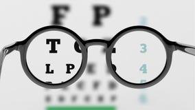 Paar rond-lensoogglazen met zichttest vector illustratie