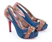 Paar schoenen van de Jeansvrouw Royalty-vrije Stock Foto