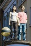 Paar 1 Scuplure in Dusseldorf, Duitsland Stock Fotografie