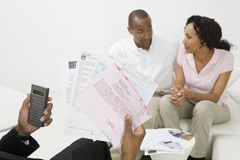 Paar-Sitzung mit Buchhalter Stockbild