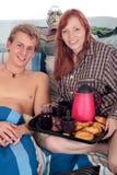 Paar, slaapkamerontbijt royalty-vrije stock foto