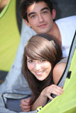 Paar in tent Royalty-vrije Stock Foto's
