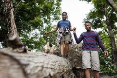 Paar-Trekking in einem Wald stockfotos