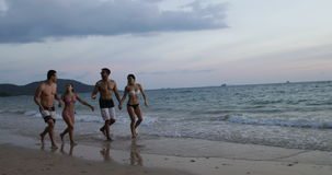 Paar twee die op Strand bij Zonsondergang Sprekend, Vrolijke Mannen lopen en Vrouwen samen bij de Mededeling van Kusttoeristen stock video