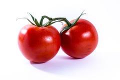 Paar Twee Tomaten Verbonden Stammen Verse Groenten die Ing koken royalty-vrije stock afbeeldingen