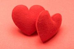 Paar valentijnskaartharten Stock Foto