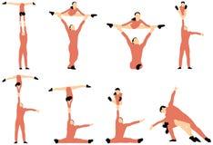 Paar van acrobatensilhouetten Royalty-vrije Stock Foto's