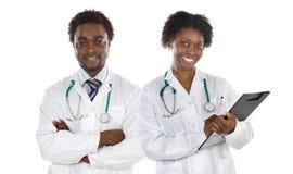 Paar van Afrikaanse Amerikaanse artsen stock foto
