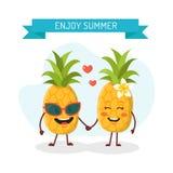 Paar van ananassen in liefde Royalty-vrije Stock Afbeelding