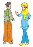Paar van Aziatische moslimtienerjaren Stock Fotografie