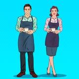 Paar van Barista met Kop van Koffie in Koffie Pop-art retro illustratie vector illustratie