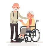Paar van bejaarde mensen Opa dichtbij grootmoeder in een wheelcha royalty-vrije illustratie