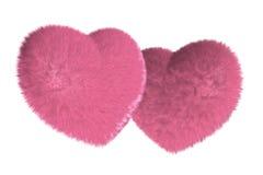 Paar van bont roze hart Stock Foto's