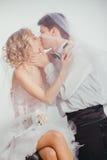 Paar van bruid en bruidegom omvat met sluier Royalty-vrije Stock Fotografie