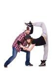Paar van dansers het dansen Royalty-vrije Stock Afbeeldingen