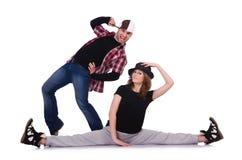 Paar van dansers het dansen Stock Foto's