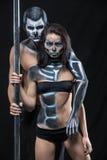 Paar van dansers met lichaam-kunst Stock Foto