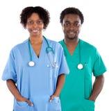 Paar van de Afrikaanse artsen van Amerikanen stock afbeeldingen