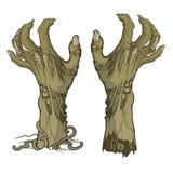 Paar van de grond toenemen en verscheurde zombiehanden die royalty-vrije illustratie
