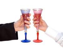 Paar van glazen, viering Royalty-vrije Stock Afbeeldingen