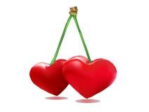 Paar van hart - de valentijnskaart van Minnaarskersen Royalty-vrije Stock Afbeeldingen