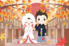 Paar van het beeldverhaal het Japanse huwelijk royalty-vrije illustratie
