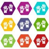 Paar van het pictogram vastgestelde kleur van paintballhandschoenen hexahedron Royalty-vrije Stock Afbeeldingen