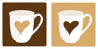Paar van het stomen van koffiemokken stock illustratie