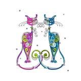 Paar van kattensilhouet voor uw ontwerp Stock Afbeeldingen