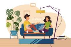 Paar van kerel en meisjeszitting op laag thuis vector illustratie